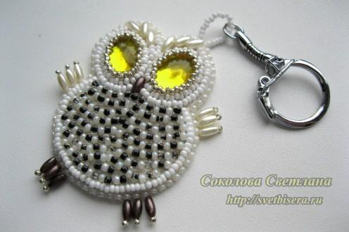 Забавный брелочек-совенок (по мотивам моей работы-подарка родным) украсит сумочку, не даст потеряться ключам и...