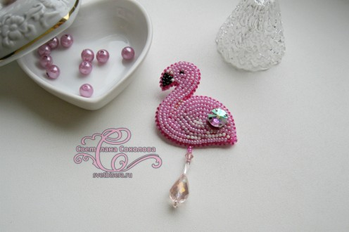 "Брошь ""Фламинго"". Автор - Светлана Соколова"